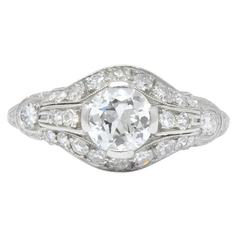 Edwardian 0.80 Carat Diamond Platinum Engagement Alternative Ring For Sale
