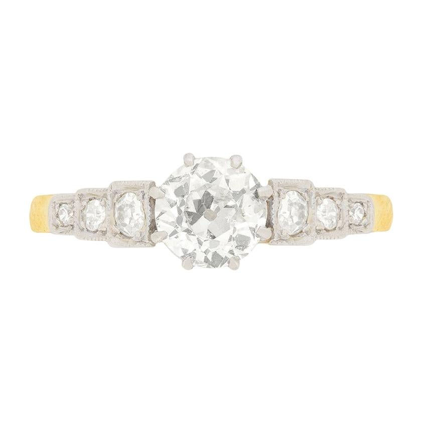 Edwardian 0.82ct Old Cut Diamond Solitaire Engagement Ring, c.1910s