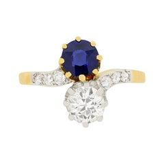 Edwardian 0.87 Carat Diamond and 0.80 Carat Sapphire Twist Ring, circa 1910s