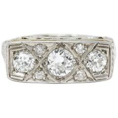 Edwardian 0.87 Carat Diamond Platinum-Topped 18 Karat White Gold Scrolled Band