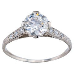 Edwardian 0.87 Carat Old European Cut Diamond Platinum Engagement Ring
