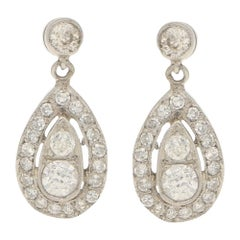Edwardian 0.90 Carat Diamond Ear Pendants in Platinum