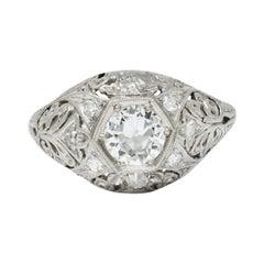 Edwardian 0.90 Carat Diamond Platinum Foliate Bombe Band Ring