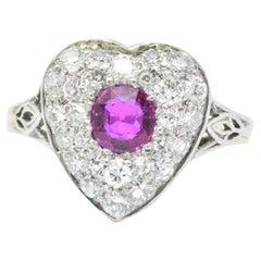 Edwardian Burma Ruby Diamond Platinum-Topped 14 Karat Gold Heart Ring