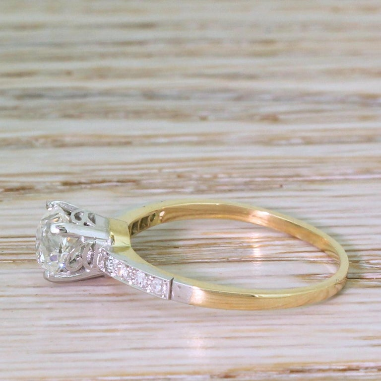 Old Mine Cut Edwardian 0.96 Carat Old Cut Diamond Engagement Ring For Sale