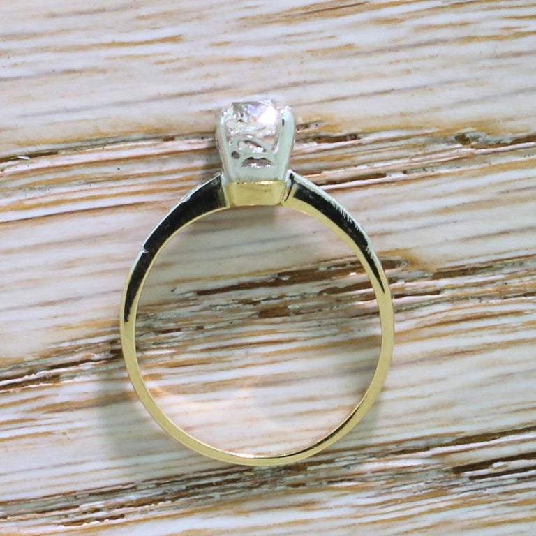 Edwardian 0.96 Carat Old Cut Diamond Engagement Ring In Good Condition For Sale In Essex, GB