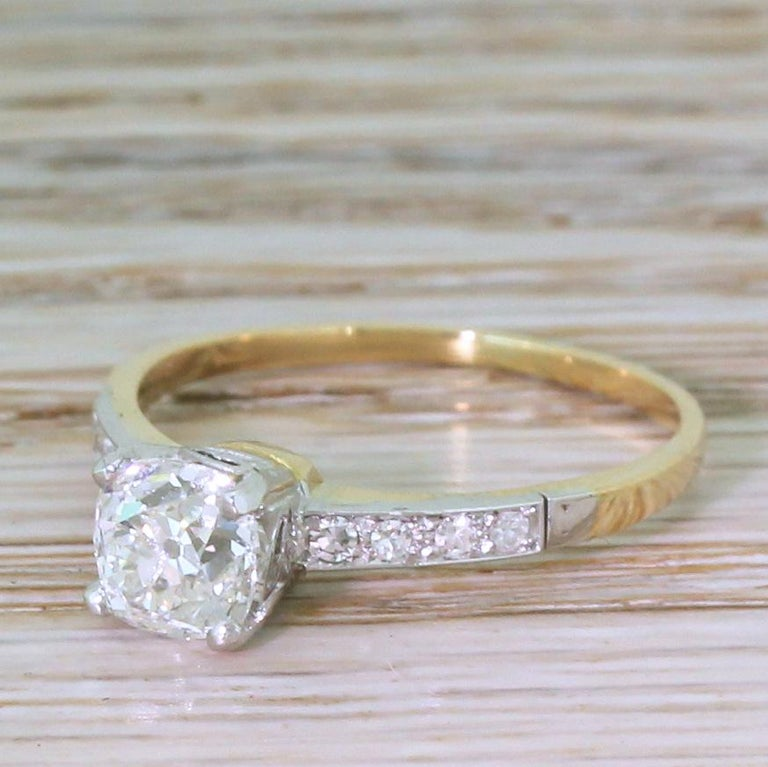 Edwardian 0.96 Carat Old Cut Diamond Engagement Ring For Sale 2
