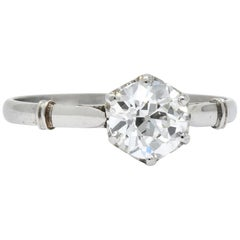 Edwardian 0.98 Carat Old European Cut Diamond Platinum Engagement Ring GIA