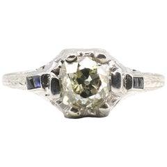 Edwardian 1 Carat Old Mine Cut Diamond and Sapphire 18 Karat Filigree Ring