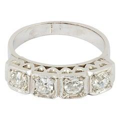 Edwardian 1 Carat Total Weight Four-Stone Diamond Platinum Ring