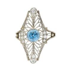 Edwardian 1.00 Carat Aquamarine Diamond Platinum Dinner Ring
