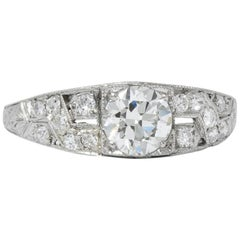 Edwardian 1.00 Carat Diamond Platinum Engagement Ring GIA