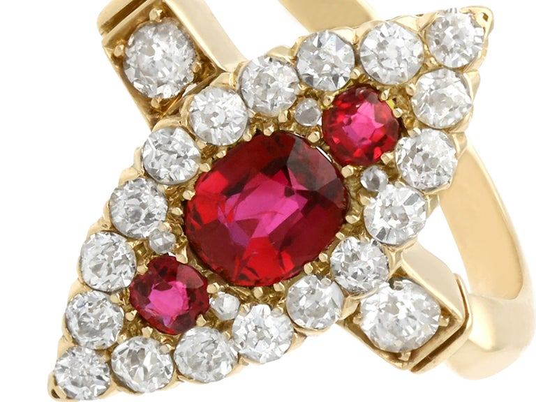 Cushion Cut Edwardian 1.00 Carat Siam Ruby and 1.12 Carat Diamond Yellow Gold Cocktail Ring For Sale
