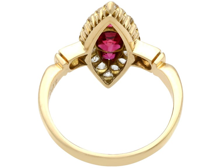 Women's Edwardian 1.00 Carat Siam Ruby and 1.12 Carat Diamond Yellow Gold Cocktail Ring For Sale