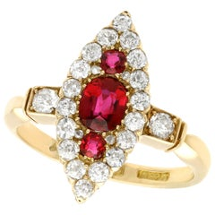 Edwardian 1.00 Carat Siam Ruby and 1.12 Carat Diamond Yellow Gold Cocktail Ring