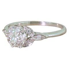 Edwardian 1.01 Carat Old Cut Diamond Platinum Engagement Ring