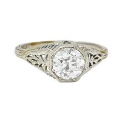 Edwardian 1.02 Carats Diamond 18 Karat White Gold Foliate Engagement Ring Ging