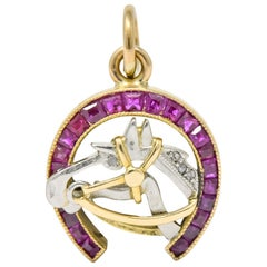 Edwardian 1.03 Carat Ruby Diamond 18 Karat Gold Platinum Horseshoe Horse Charm