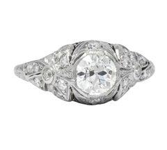 Edwardian 1.07 Carat Old European Cut Diamond Platinum Engagement Ring GIA