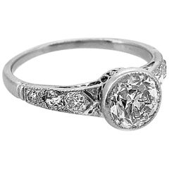 Edwardian 1.10 Carat Diamond Antique Engagement Ring Platinum