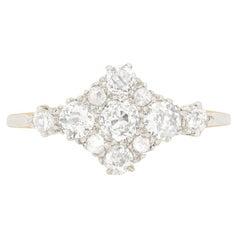 Edwardian 1.10 Carat Diamond Cluster Ring, circa 1910s