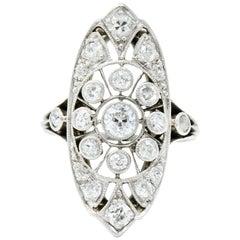 Edwardian 1.10 Carat Diamond Platinum Dinner Navette Ring