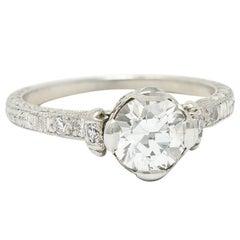 Edwardian 1.11 Carats Diamond Platinum Scrolled Foliate Engagement Ring GIA