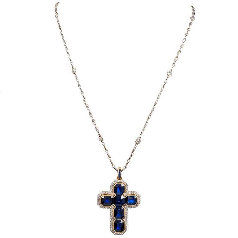 "Mixed Cut Edwardian 12 Carat ""No Heat"" Sapphire and Diamond Cross For Sale"