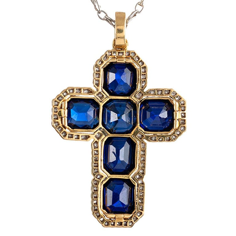 """Edwardian 12 Carat """"No Heat"""" Sapphire and Diamond Cross In Good Condition For Sale In Carmel-by-the-Sea, CA"""
