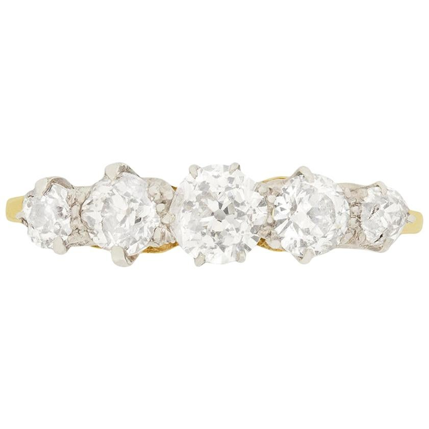 Edwardian 1.20 Carat Diamond Five-Stone Engagement Ring, circa 1910s