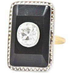 Edwardian 1.20 Carat Diamond Onyx Platinum 14 Karat Gold Ring