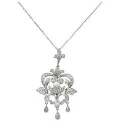 Edwardian 1.20 Carat Diamond Pearl Platinum-Topped 14 Karat Gold Necklace
