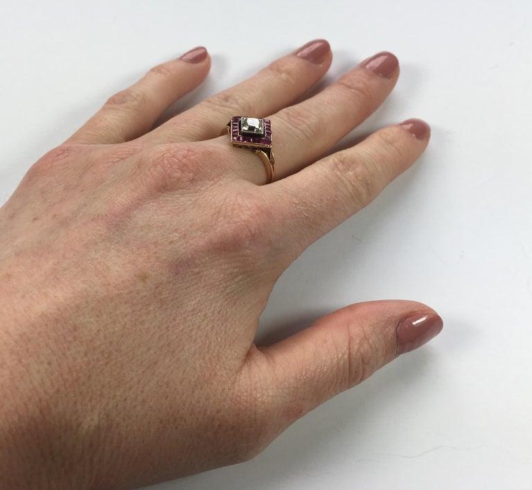 Edwardian 1.20 Carat Diamond Ruby Ring For Sale 6