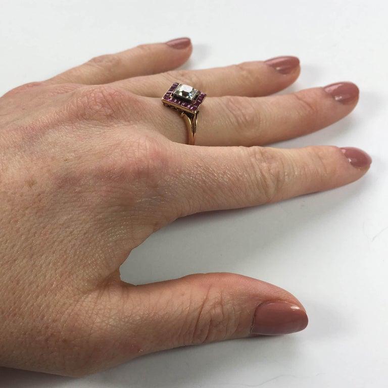 Edwardian 1.20 Carat Diamond Ruby Ring For Sale 7