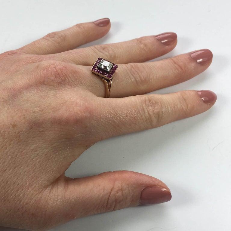 Edwardian 1.20 Carat Diamond Ruby Ring For Sale 8
