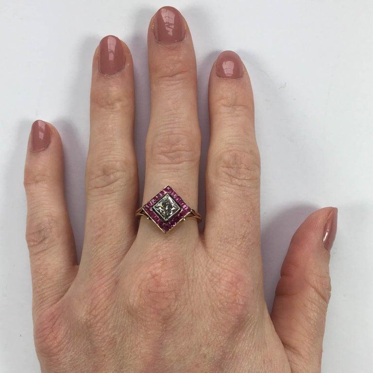 Edwardian 1.20 Carat Diamond Ruby Ring For Sale 9