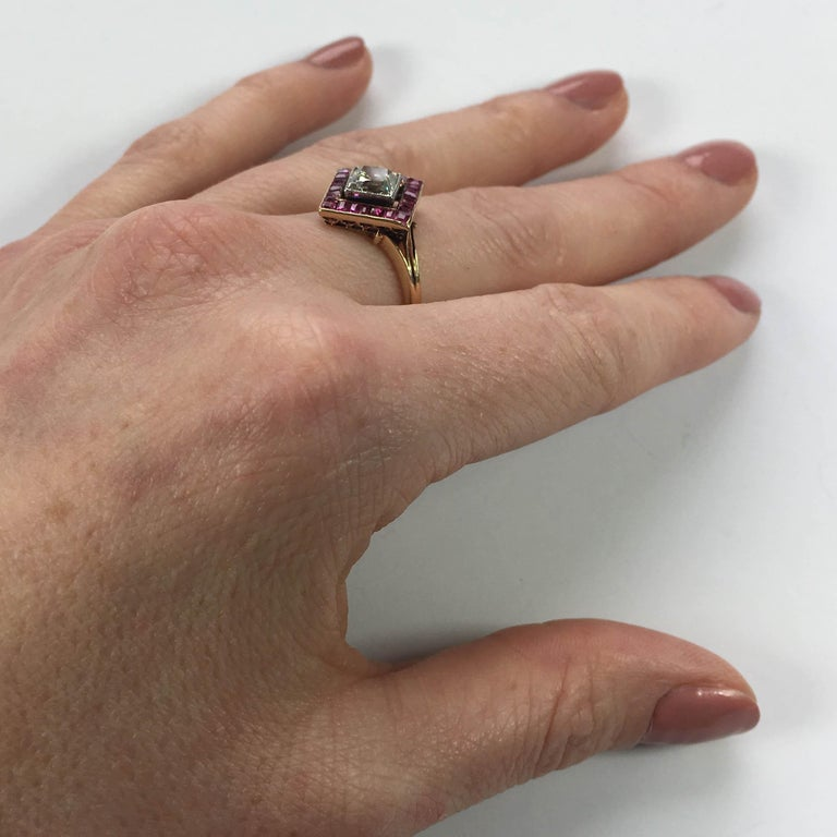 Edwardian 1.20 Carat Diamond Ruby Ring For Sale 10