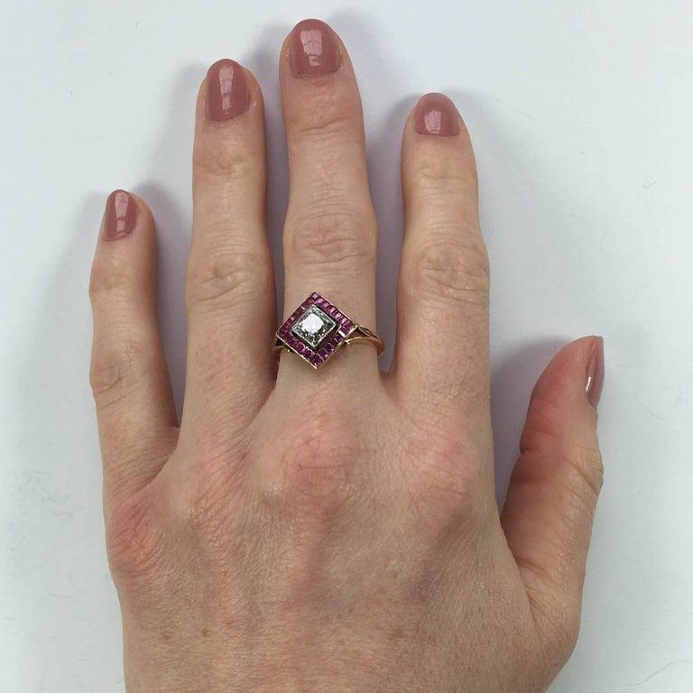 Edwardian 1.20 Carat Diamond Ruby Ring For Sale 5
