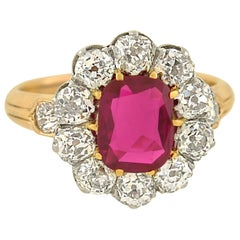 Edwardian 1.20 Carat Natural Untreated Burma Ruby Diamond Ring