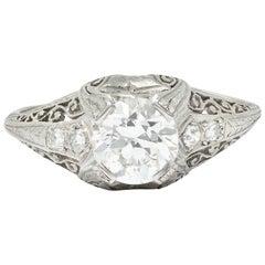 Edwardian 1.25 Carat Diamond Platinum Scrolled Engagement Ring GIA