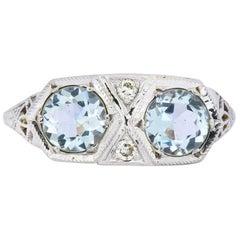 Edwardian 1.30 Carat Aquamarine Diamond Platinum Dinner Ring