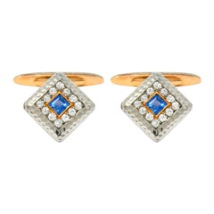 Edwardian 1.30 Carat Diamond Sapphire 14 Karat Gold Platinum Cufflinks