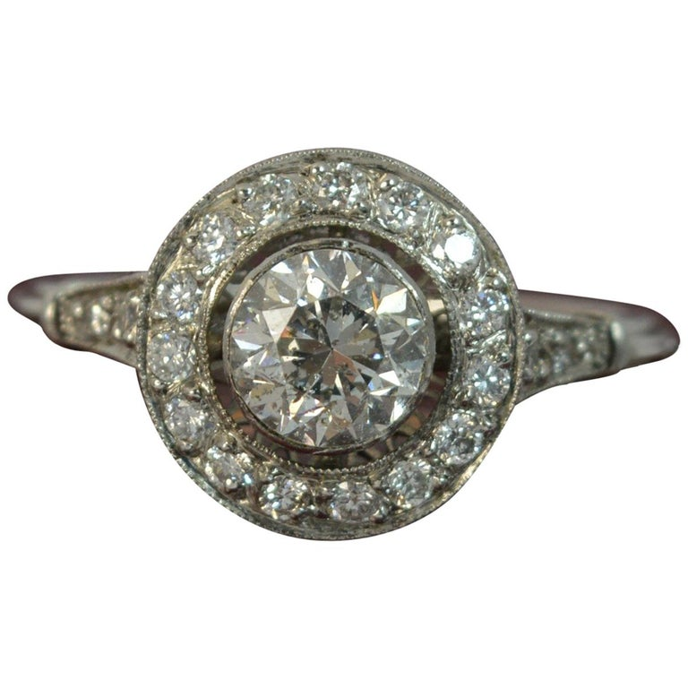 Edwardian Engagement Rings For Sale: Edwardian 1.30 Carat Old Cut Diamond And Platinum Halo