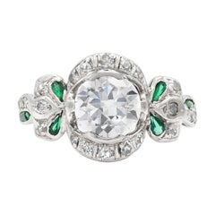 Edwardian 1.30 Carat Old Mine Cut Diamond Ring with Emeralds