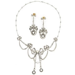 Edwardian 13.40 Carat Diamond Platinum Necklace and Earrings Suite