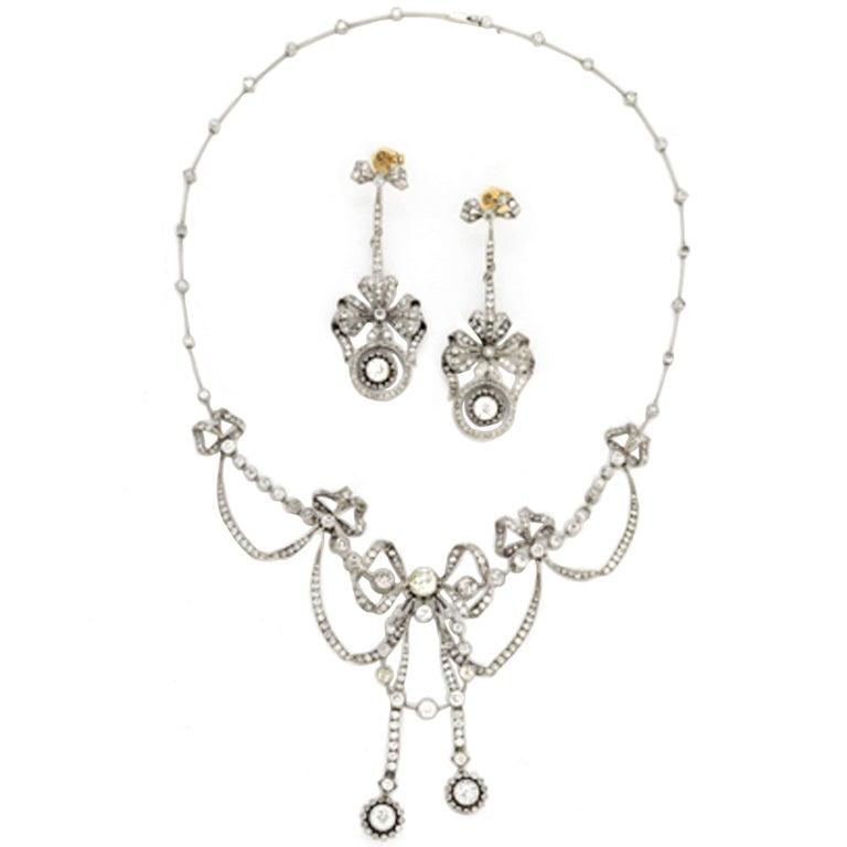 Edwardian 13.40 Carat Diamond Platinum Necklace and Earrings Suite