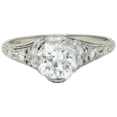 Edwardian 1.36 Carat Diamond Platinum Engagement Ring GIA