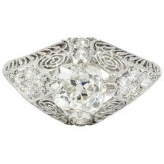Edwardian 1.36 Carat Old Mine Diamond Platinum Engagement Ring GIA
