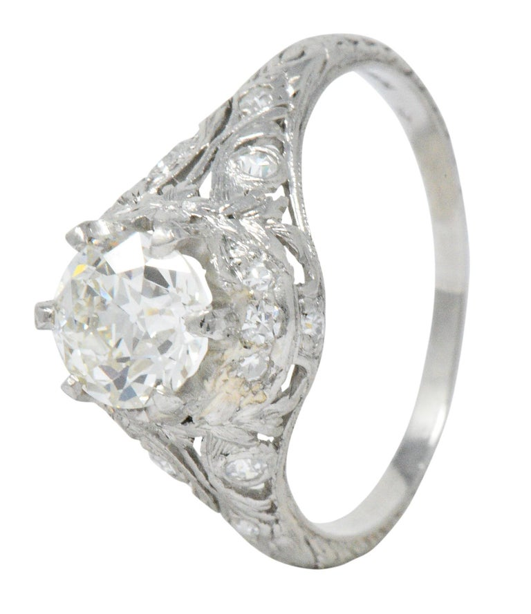 Edwardian Engagement Rings For Sale: Edwardian 1.36 Carat Diamond Platinum Engagement Ring GIA