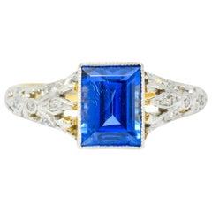 Edwardian 1.42 Carats No Heat Ceylon Sapphire Diamond Ring AGL